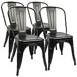 Lot de 4 chaises de salle à manger industrielles rétro en métal - Tabourets de cuisine modernes - Tabouret de bar industriel intérieur ou extérieur - Antirouille - Empilable - Noir