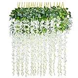 YQing 12 pcs/lot Fleurs Artificielles Décoration de la Maison Chaque Mèche 110 cm Artificiel Wisteria Fleur en Soie pour Mariage Décorations Home Garden Party Decor Fleur de Simulation