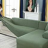 Zhongdalian Housse de Canapé d'angle avec Accoudoirs Housse de Canapé Canapé de Protection Extensible en Forme de L (Canapé d'angle en Forme de L, Veuillez Acheter Deux Pièces)