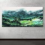 CHBOEN Peinture décorative Mintura peint à la main peinture à l'huile sur toile couteau paysage peinture à l'huile de paysage Green Hill Wall Art Picture Décoration de la maison pour salon