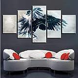 Maison Salon Mur Décor 5 Pièces Chouette Ailes De Propagation Fly Peintures Modulaire Affiche Art Impression HD Animaux Photos