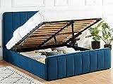 HOMIFAB Lit Coffre 160x200cm en Velours Bleu Canard avec tête de lit + sommier à Lattes - Collection Bold