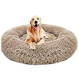 Yuly Panier pour chien en forme de donut - Chaud et moelleux - Pour animal domestique - Pour canapé, coussin et sac de couchage - Lavable - Rond - D100 cm - Marron