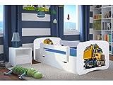 Lit d'Enfant Complet 70x140 80x160 80x180 sommier tiroir barrierèrespour Filles garçons lit Simple - Blanc - Camion Benne - 70 x 140 cm