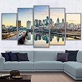 HNSYZS 5 pièces tendutableaux Impression Moderne HD Paysages riverains de Philadelphie décoration Salon Moderne de canapé Chambre