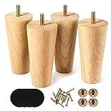 Lot de 4 pieds de canapé en bois finition noyer 12.7 cm pour fauteuil, table de nuit, armoire, tiroir (Couleur du bois)