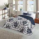Delindo Lifestyle® Couvre-lit boutis patchwork Dream bleu pour lit 2 places 220 x 240 cm