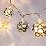 Lights4fun Guirlande Lumineuse 16 Boules en Métal Argenté LED Blanc Chaud pour Intérieur