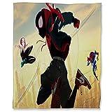 ARYAGO Plaid ultra doux 150 x 200 cm, motif araignée Spiderman, couverture chaude pour lit, canapé, voyage, canapé, Miles Gwen et Peni