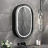 Ovale LED Armoire de Toilette Avec Miroir en Bois,Armoire Miroir Murale de Salle de Bain,50X80cm,Avec Fonction de DéSembuage Intelligente,BlackB