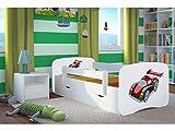 Lit d'Enfant Complet 70x140 80x160 80x180 sommier tiroir barrierèrespour Filles garçons lit Simple - Blanc - Voiture de Course - 80 x 180 cm