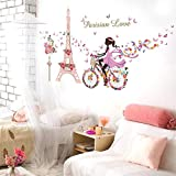 YCYY Romantic Paris Wall Stickers for Children's Room Eiffel Tower Flower Butterfly Fairy Girl Riding Wall Art Deco Home Decoration Mural
