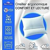 Bleu Calin Oreiller Ergonomique Confort et Lecture 65 x 65 cm