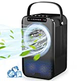 Climatiseur Portable,Mini Refroidisseur d'air avec Ventilateur Climatiseur Mobile Personnel pour Bureau Chambre 3 Vitesses,2/4h Timer- 7 Couleurs - Cadeau d'été