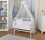 WALDIN Lit cododo berceau tout équipé pour bébé,bois blanc laqué,16 modèles disponibles,Surface de couchage extra large : L 90 x l 55,couleur du textile blanc/astre gris-bleu