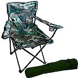 FineHome Chaise de pêcheur pliable avec porte-gobelet et sac Camouflage
