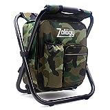 Zology Chaise de camping pliable - Sac à dos avec sac isotherme - Sac de pique-nique - Sac de randonnée portable - Sac de table pour extérieur, intérieur, pêche, voyage, plage, barbecue