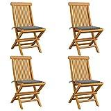 Tidyard Chaises de Jardin Pliable Chaises d'extérieur en Bois avec Coussins Gris 4 pcs