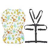 Coussin doublure de siège pour poussette/chaise haute pour bébé Tapis de protection pour siège Sangles pour chaise haute et résistantes (harnais à 5 points) 1 costume (Animal)