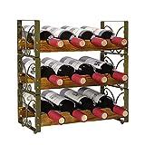 X-cosrack Étagère rustique empilable pour 12 bouteilles de vin, 3 étages, support de rangement, étagère de rangement pour comptoir de liqueur – Bronze 41,9 x 17,8 x 41,9 cm, design breveté