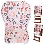 Twoworld Coussin de chaise haute épais pour chaise haute pour bébé Motif lettres roses