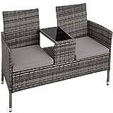 TecTake Salon de Jardin en résine tressée canapé Banc avec Table intégrée avec Verre de sécurité + Coussins - diverses Couleurs au Choix - (Gris | No. 403223)