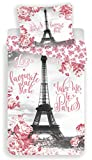 Paris Tour Eiffel Roses - Parure de Lit - Housse de Couette Coton