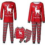IMJONO Parent-Enfant Pyjama NoëL Famille Pyjamas Noël Déguisement Ensemble de Pyjama Vêtements de Nuit Costume Coton à Manches Longues Chemises + Pantalons Longs Hiver Sweat de Noël Printemps