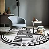WJY Tapis Rond Balcon Chambre Salon Chaise Moquette Table D'ordinateur Tapis De Salle De Bain (Color : Black White, Size : 100CM)