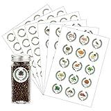 Azatemgo 105 PCS Etiquette épices Lot de 45 étiquettes épices autocollantes avec motifs et lettres d'épices pour pots à épices et 60 étiquettes vierges Rond 4 cm