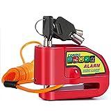 Tchipie Antivol Moto Bloque Disque avec Alarme de 110dB, Antivol Scooter Bloc Disque Moto Alarme pour Moto/Vélo/Scooter, 3 Clés, 1,5m Câble de Rappel, Piles de Rechange, Rouge