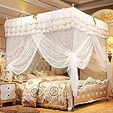 Esenlong Moustiquaire à 3 côtés avec ouverture sur le côté - Rideau de lit de luxe à quatre coins - Accessoires pour la décoration de la maison (sans support)