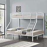 neu.haus] Cadre de lit superposé en métal Armature Massive pour 3 Personnes 210cm x 147,5cm x 168cm Blanc