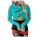 JJPAR Pulls Gilets Sweats Femme Halloween Sweatshirt Imprimé Squelette Fantôme Veste Funny Mode Automne Hiver Chic Chaud Décontractée Hauts Crewneck Manche Longue Ample Pas Cher Manteaux Cardigan