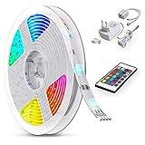 B.K. Licht Ruban LED multicolore 5 M, guirlande lumineuse dimmable avec télécommande, ruban auto-adhésif, lumière décorative blanche et multicolore, éclairage intérieur