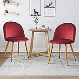 Clipop Lot de 2 chaises de salle à manger en velours capitonné avec dossier et pieds en métal pour salle à manger, salon, chambre à coucher et bureau