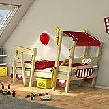 WICKEY lit pour enfant 'Crazy Sparky Max' design Pompier- Lit simple en bois massif - 90x200 cm