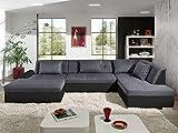 Bestmobilier - Utah - Canapé d'angle panoramique XXL en U - Convertible - en Simili et Tissu - Droit