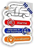 SC ® - Sticker/Autocollant - Camping-Car/Alarme/Détecteur Gaz/Localisation - Fabrication Française (Hauteur 10 cm/Largeur 7,5 cm)