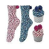 Homealexa 2 paires de Chaussettes Fantaisies Drôle à Vin de Luxe pour Femme avec Cupcake Emballage Chic Drôle DIY Cadeaux Noël Fête Cadeau d'Anniversaire - Bleu/Rose, Taille Unique