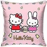 Bxad Housse de coussin Hello Kitty Rose Taie d'oreiller pour canapé lit chaise décoration intérieure