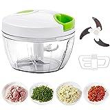 Hachoir manuel à tirer, hachoir à légumes, salade/ail pour salsa/pesto/oignons (450 ml)
