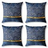 JOTOM Lot de 4 Housse de Coussin 45 x 45 cm Décoratif Taie d'oreiller Fil d'or Ondulé Polyester Maison Salon Canapé Chambre (Bleu Marin)