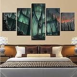Peinture Sur Toile HD Prints Home Decor 5 Pièces Seigneur Des Anneaux Château Mur Art Modulaire Jeu Photos Oeuvre Pour Chambre Affiche