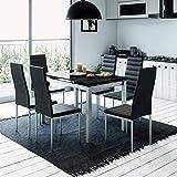 Mobilier Deco Ensemble tableà Manger + 6 chaises chaises Noir