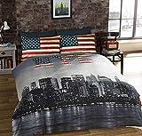 Urban Unique New York City Distressed Vintage réversible NYC Photo Impression Housse de Couette, Multicolore, Unique