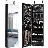 Giantex Armoire à bijoux avec LED, étagère à bijoux avec miroir intégral, verrouillable, armoire murale pour colliers, boucles d'oreilles, suspendu à la porte (noir)