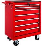 TecTake Chariot d'atelier servante à outils | 7 tiroirs spacieux verrouillables | -diverses modèles- (Rouge | No. 402799)