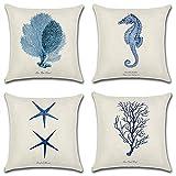 HuifengS Lot de 4 Housses de coussin en lin, housses carrées décoratives avec motifs de forêt et plantes tropicales, idéales pour canapés, lits, chaises, 45 x 45cm, Lin, Zt010., 45 x 45 Centimeters