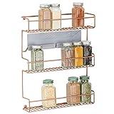 mDesign étagère de cuisine à 3 niveaux – rangement de cuisine en métal autocollant – idéal comme range épices et pour organiser l'espace dans le garde-manger ou le placard de cuisine – cuivre